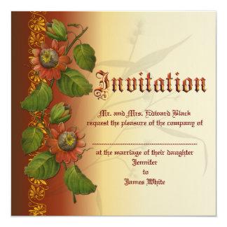 Passionflower Wedding Rust 13 Cm X 13 Cm Square Invitation Card