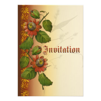 Passionflower Wedding Rust Personalized Announcement