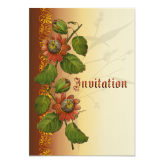 Passionflower Wedding Rust 5x7 Paper Invitation Card