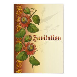 Passionflower Wedding Rust 13 Cm X 18 Cm Invitation Card