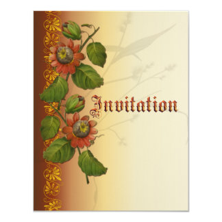Passionflower Wedding Rust 4.25x5.5 Paper Invitation Card