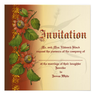 Passionflower Wedding Rust Personalized Announcements