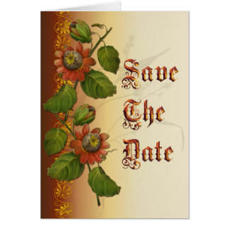 Passionflower Wedding Rust Save the Date Card