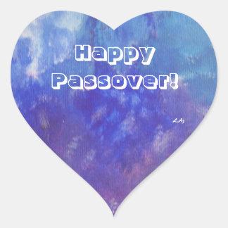 Passover Abstract Blue Aqua Purple Heart Stickers