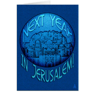 Passover Jerusalem Blue Card