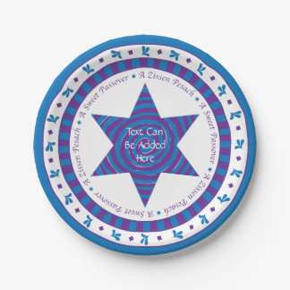 Passover Paper Plate Blue/Purple Pattern