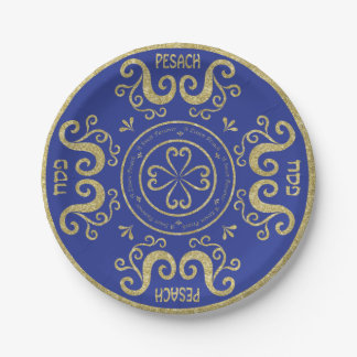 Passover Paper Plate Gold Elegant Pattern