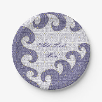 Passover Paper Plate Gold Star/Purple