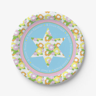Passover Paper Plate Pastel Floral Pattern