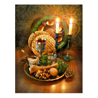Passover Seder Table, Wine & Matzah Postcard