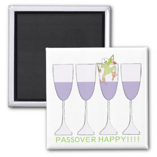 """Passover Square Magnet """"Wine and Frog"""""""