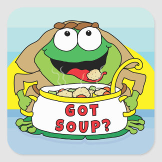 "Passover Square Stickers ""Got Soup?"""