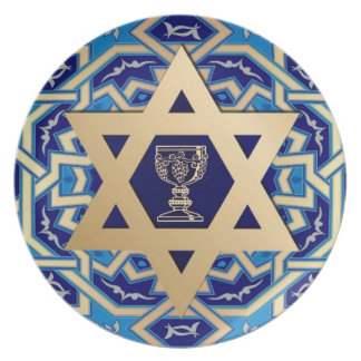 Passover Star of David and Kiddush Cup Design Plate