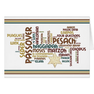 Passover Words and Matzah Star Card