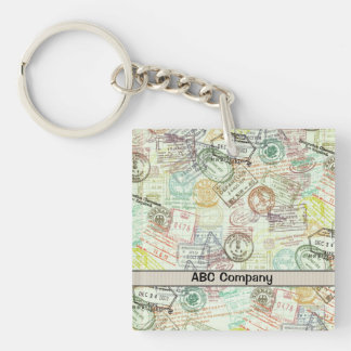 Passport Stamp Print Keychain