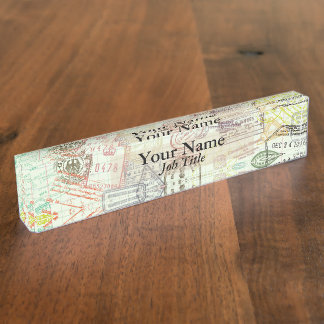 Passport Stamp Print Name Plate