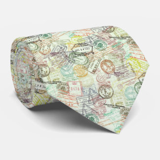 Passport Stamp Print Tie