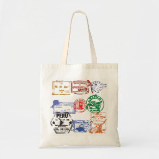 passport stamps budget tote bag