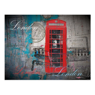 passport stamps London Red Telephone Booth Postcard