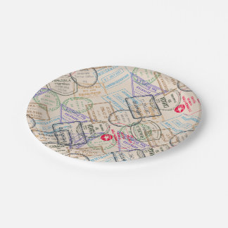 Passport Stamps Travel 7 Inch Paper Plate