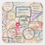 Passport Stamps Travel Square Stickers