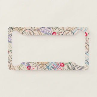Passport Stamps Travel Themed Licence Plate Frame