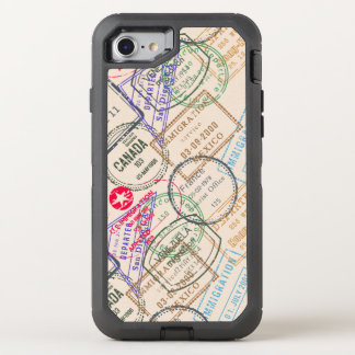 Passport Stamps Travel Themed OtterBox Defender iPhone 7 Case