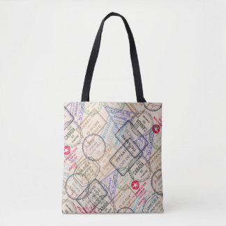 Passport stamps travel themed tote bag