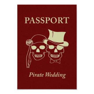passport to a pirate wedding 9 cm x 13 cm invitation card