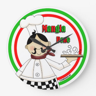 Pasta Chef Round Wall Clock