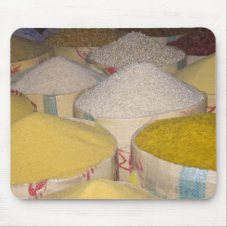 Pasta, grain and rice in sacks at the souk in mouse pad