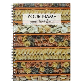 pasta noodles photograph notebook