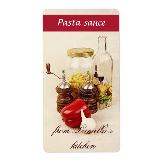 Pasta, salt, pepper and garlic pasta sauce label