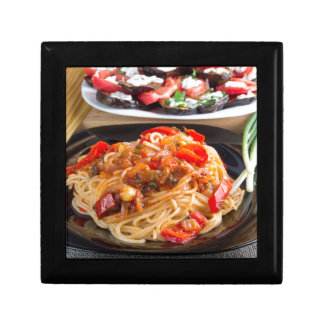 Pasta spaghetti with pieces of bell pepper gift box