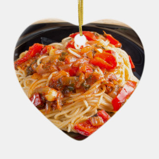 Pasta spaghetti with vegetable sauce ceramic ornament
