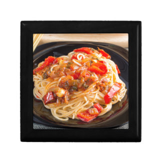 Pasta spaghetti with vegetable sauce gift box