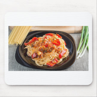 Pasta spaghetti with vegetable sauce mouse pad