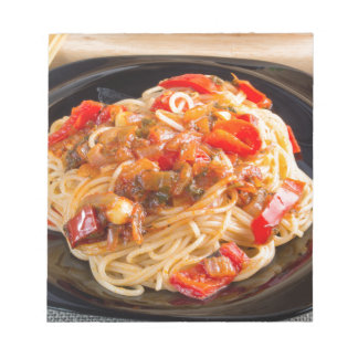 Pasta spaghetti with vegetable sauce notepad