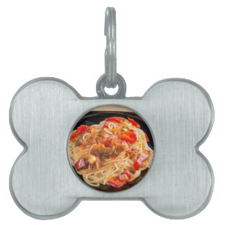 Pasta spaghetti with vegetable sauce pet name tag