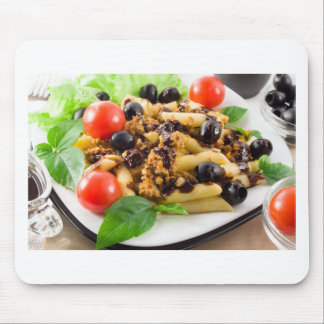 Pasta with bolognese sauce, beef meat, olives mouse pad