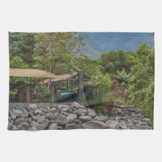 Pastaza River and Leafy Mountains in Banos Ecuador Kitchen Towel