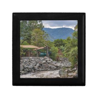 Pastaza River and Leafy Mountains in Banos Ecuador Small Square Gift Box