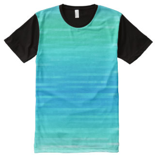 Pastel Abstract Turquoise Blue Green Pattern All-Over Print T-Shirt