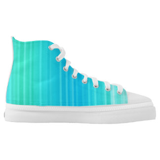 Pastel Abstract Turquoise Blue Green Stripes High Tops