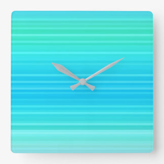 Pastel Abstract Turquoise Blue Green Stripes Square Wall Clock