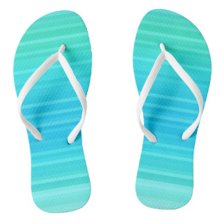 Pastel Abstract Turquoise Blue Green Stripes Thongs