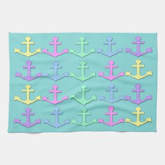 Pastel Anchor Pattern Kitchen Towel
