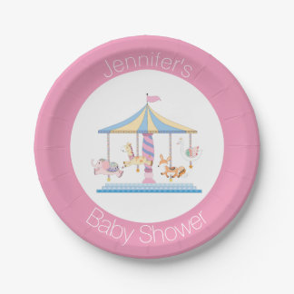 Pastel Animal Carousel Baby Shower Plate