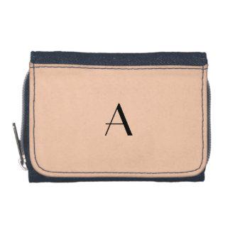 Pastel Apricot Color Denim Wallet w/Black Monogram