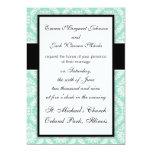 pastel aqua and cream fleur elegant damask 13 cm x 18 cm invitation card